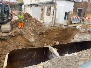 Deep hole excavation on a demolition site