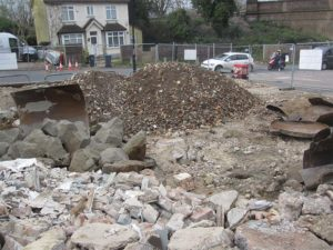 Different sizes of rubble on a demolition site