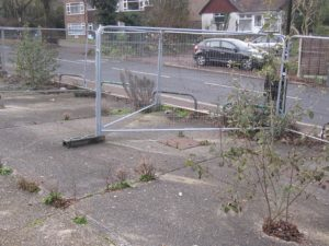 Demolition site barriers in Croydon