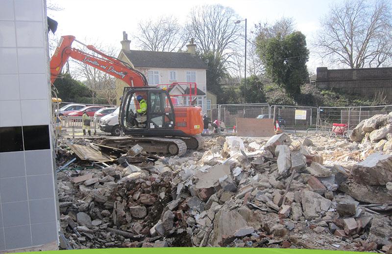 Demolition of a petrol station in croydon