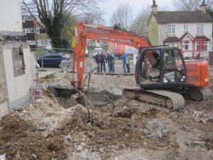 Excavation on a demolition site