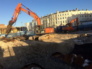 Demolition site work in Hove, Sussex