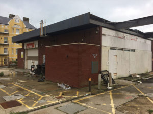 Petrol station site for demolition in Hove, Sussex