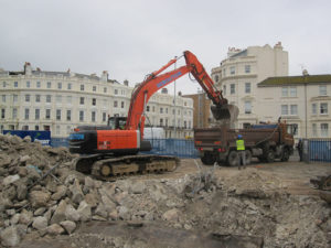 Demolition work taking place in Hove, Sussex