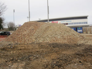 Rubble pile at Sussex County Cricket Ground demolition site