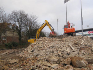 Demolition equipment being used at Sussex County Cricket ground demolition project