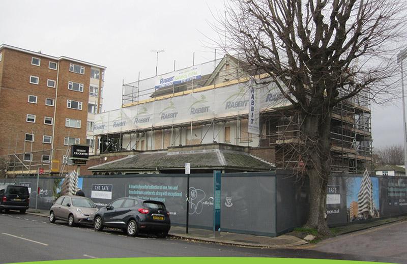 Demolition site at Sussex County Cricket Ground