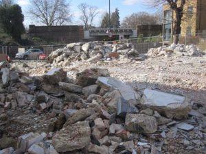 Rubble at a demolition site in croydon